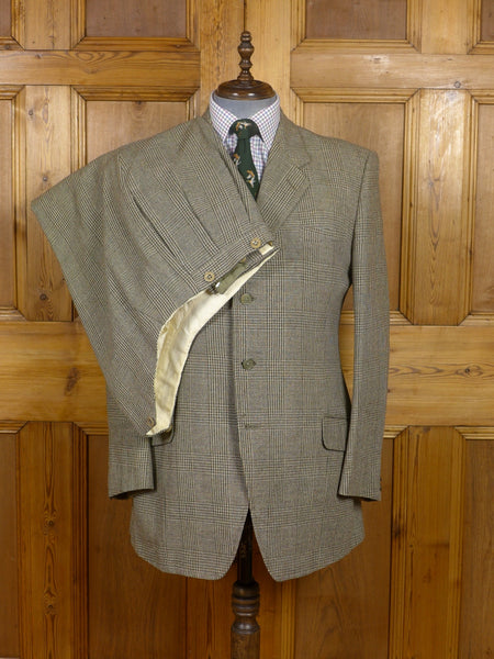 17/1556 (dc) vintage 1957 huntsman savile row bespoke heavyweight green & beige check 3-piece tweed suit 43 regular to long