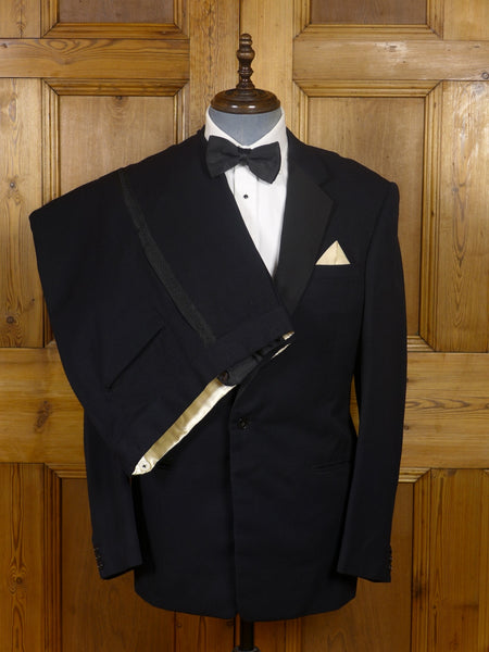 17/1598 vintage 1963 london w1 bespoke tailored midnight blue barathea / grosgrain notch dinner suit 40 regular