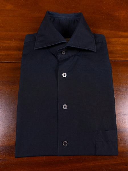 17/1792 santarelli sartoria luxury black cotton double cuff shirt 16 short