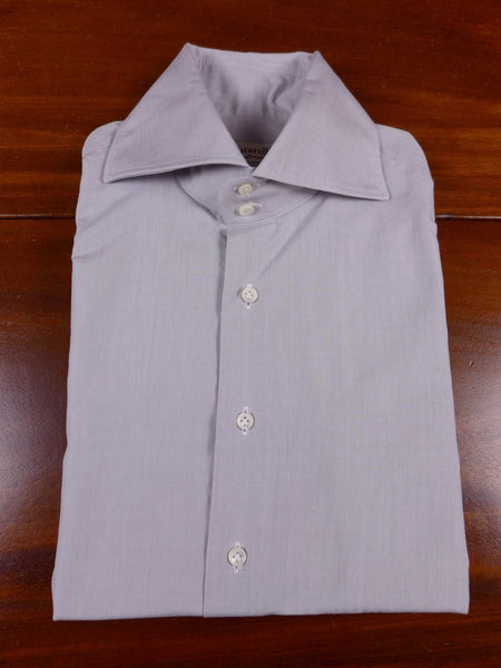 17/1790 santarelli sartoria luxury grey cotton double cuff shirt 16.5 short
