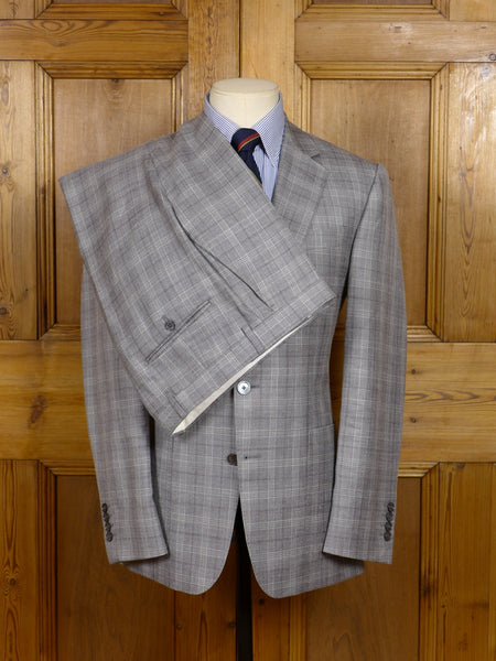 17/1588 (pt) immaculate gieves & hawkes savile row grey plaid check wool silk & linen suit 37-38 short to regular