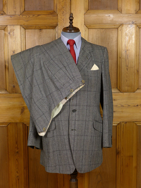 17/1541 (dc) vintage 1952 huntsman & sons savile row bespoke grey plaid check heavyweight wool twist suit 41 regular to long