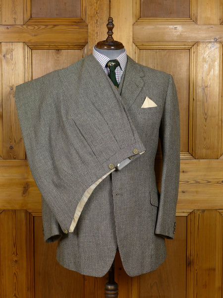 17/1555 (dc) vintage 1959 huntsman savile row bespoke heavyweight grey & black check 3-piece tweed suit 42 regular to long