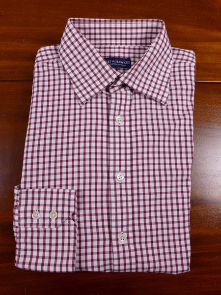 17/1605 (pt) gieves & hawkes savile row red / white gingham check cotton single cuff shirt 16