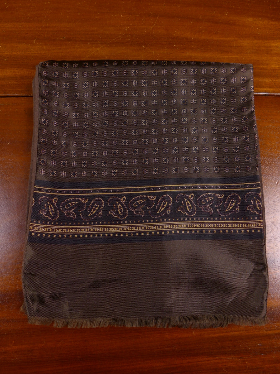 17/1641 GENUINE VINTAGE LIGHTWEIGHT BROWN PAISLEY SCARF PERFECT FOR GOODWOOD REVIVAL