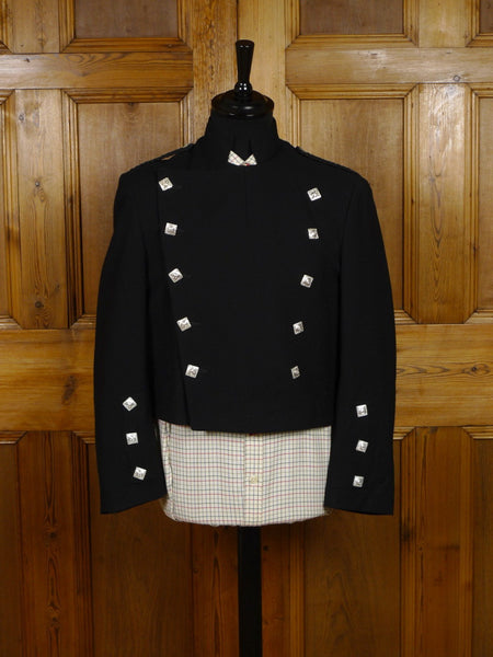 2712/06 HEAVYWEIGHT VINTAGE BLACK WOOL MONTROSE KILT JACKET 40 SHORT