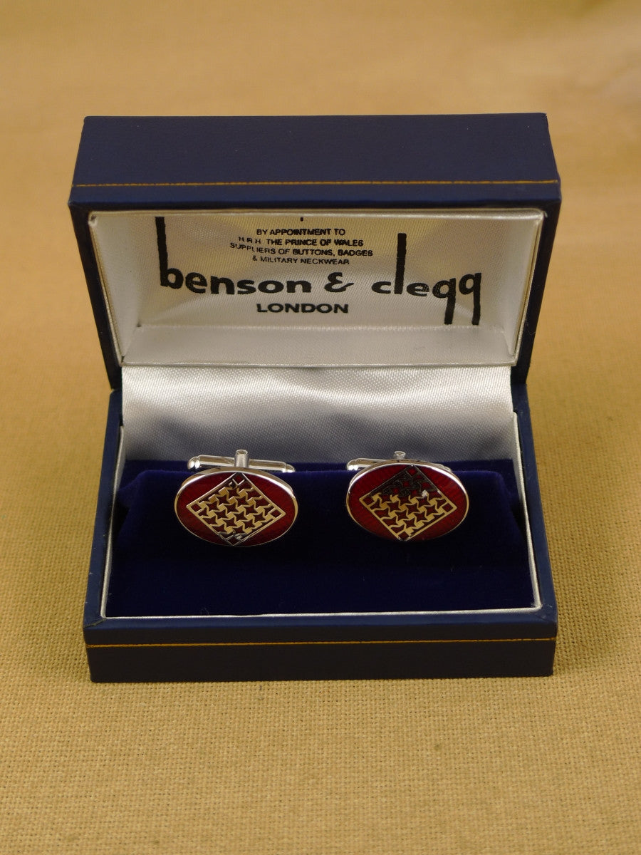 16/1455 NEW benson & clegg piccadilly arcade rhodium t-bar cufflinks (ref 617rt) rrp £55