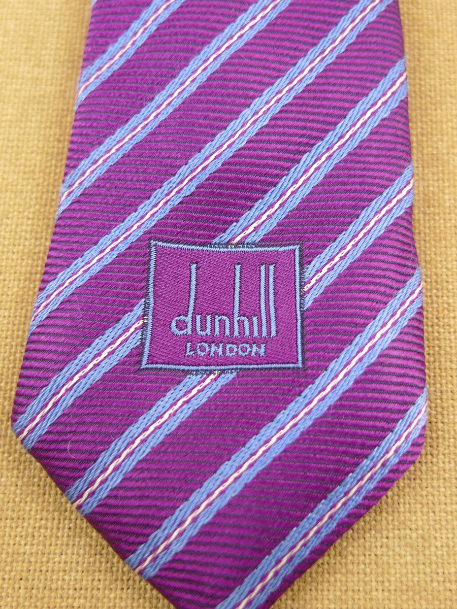 17/1870 (pt) DUNHILL PURPLE / GREY STRIPED 100% SILK TIE