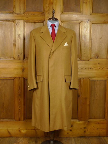 17/1714 (dc) stunning immaculate 2006 savile row bepoke cashmere camel full-length overcoat coat 44-45