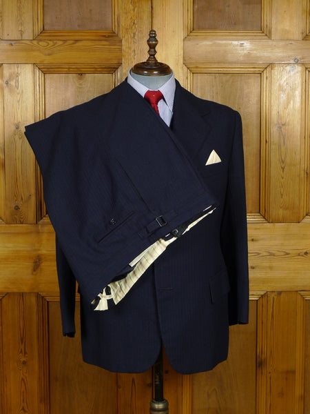 17/1731 vintage savile row bespoke navy / royal blue pinstripe 3-piece heavyweight worsted city suit w/ d/b waistcoat 45