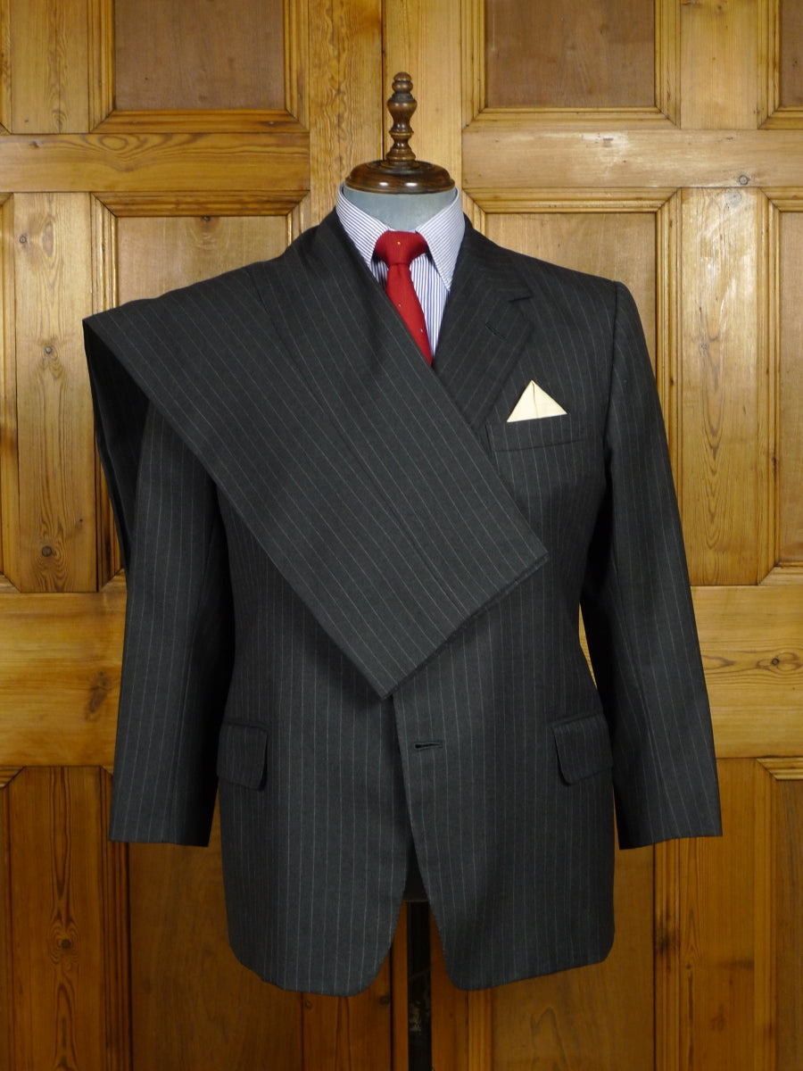 17/1735 (pt) 2000 welsh & jefferies savile row bespoke grey worsted rope-stripe suit 44-45 short