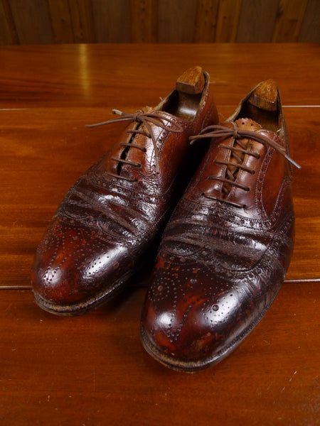 17/1743 (dc) beautiful 1950s vintage john lobb heavyweight mahogany brown brogue shoe uk 10.5 wide fitting