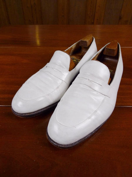 17/1786 (dc) vintage john lobb ivory white calf leather slip-on brogue shoe uk 10.5 wide fitting