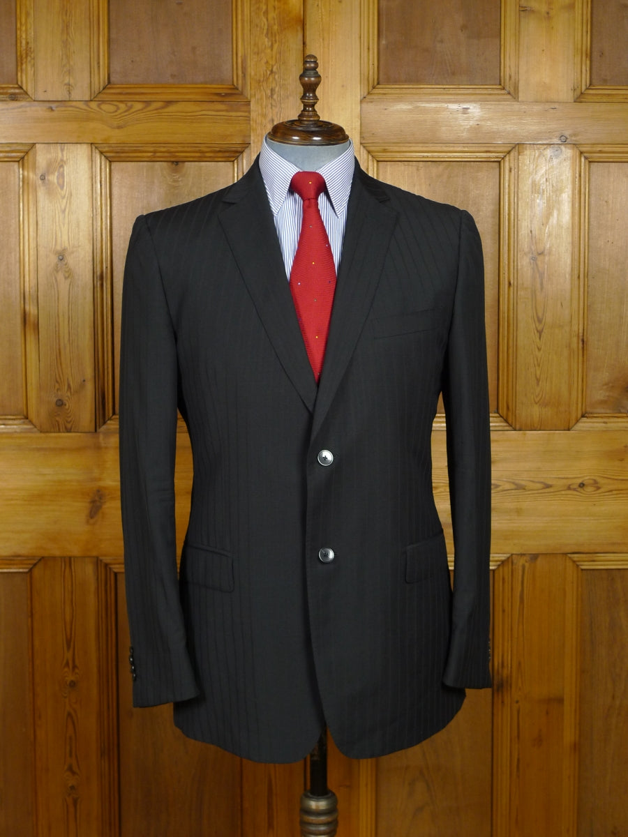 17/1759 immaculate zegna italian designer black multi-stripe superfine wool suit 42-43 regular