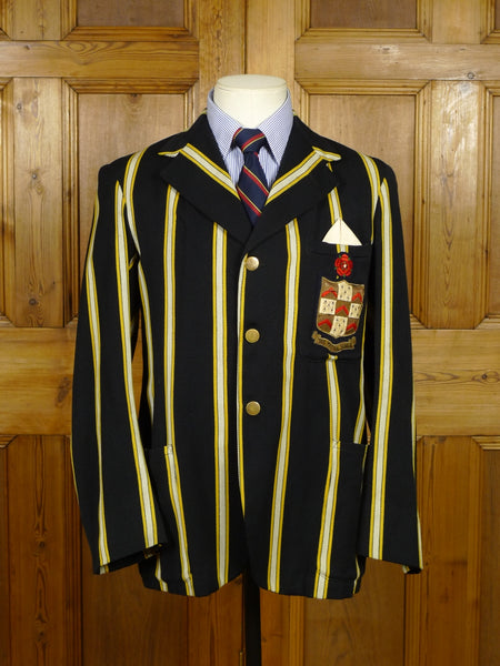 17/1889 (pt) vintage 1940s 1950s  black / yellow & white stripes college sporting boating blazer 38 short