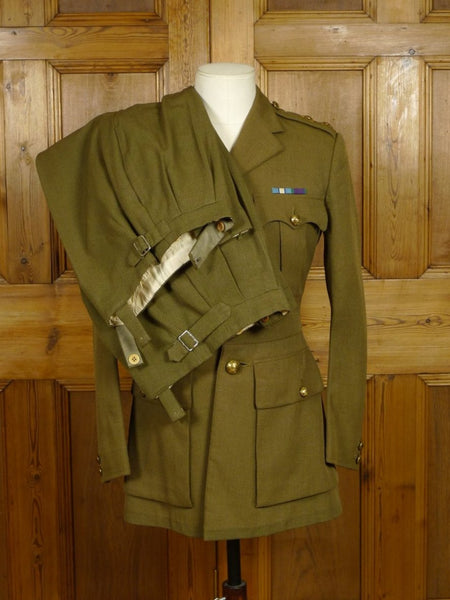 17/1908 (dc) vintage 1964 huntsman & sons savile row bespoke guards officers army uniform w/ 2 pair trs 36 regular
