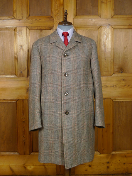 17/1925 immaculate vintage french tailored brown / red glen check wool overcoat coat 46