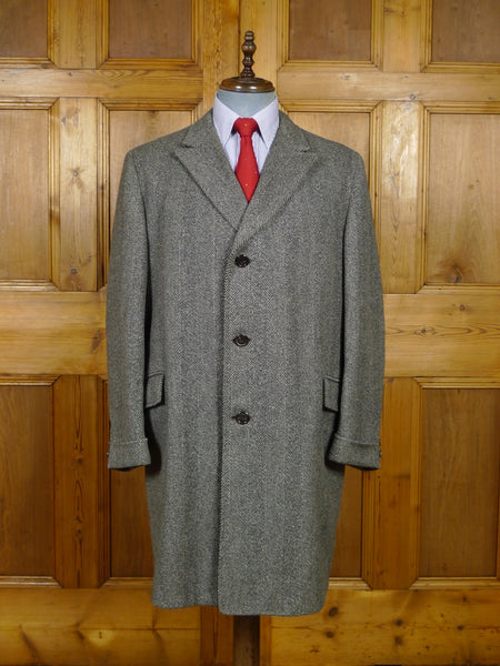 17/1927 vintage hand tailored heavyweight grey herringbone wool chesterfield overcoat w/ gauntlet cuff 44-46