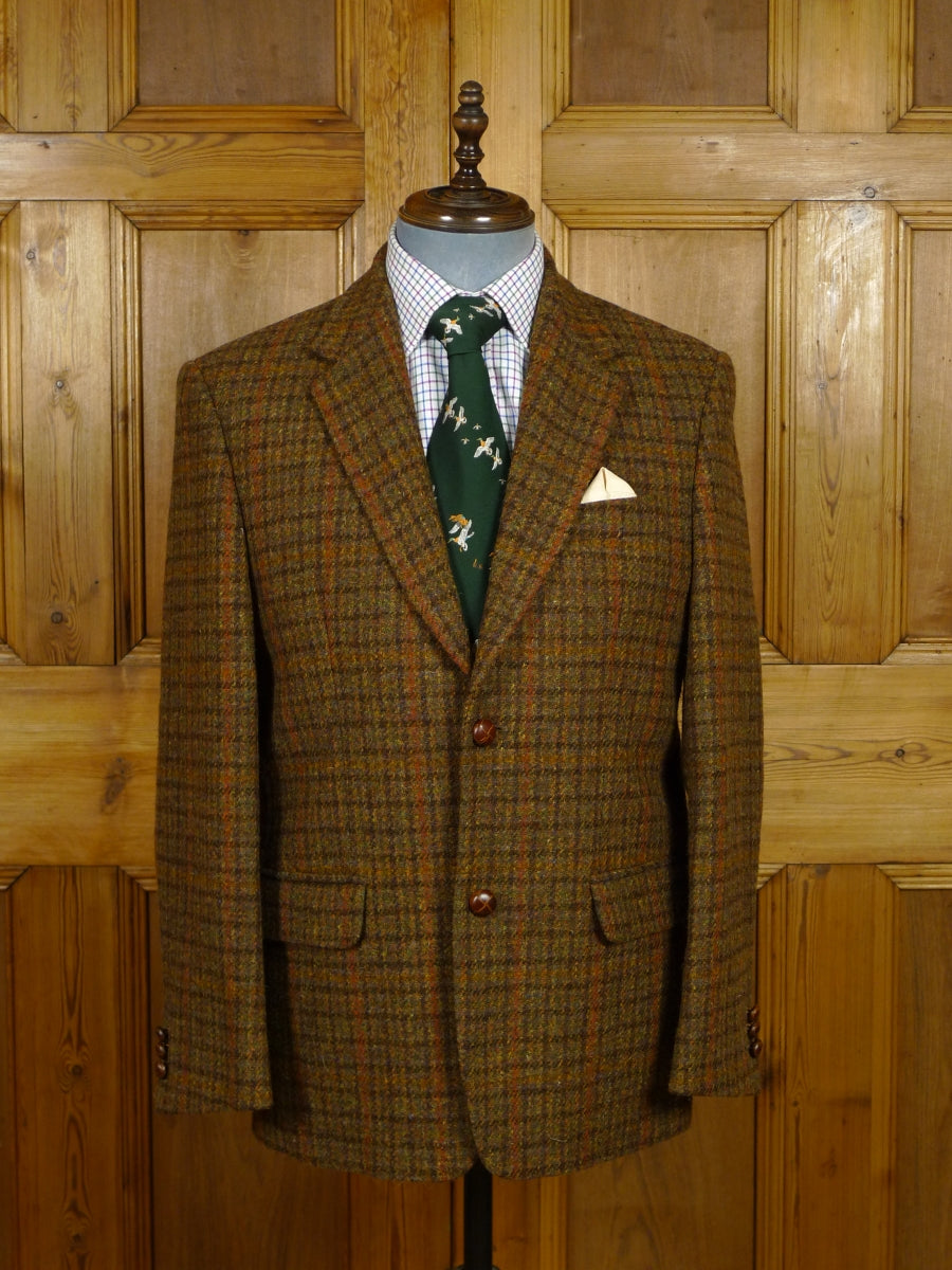 17/1937 immaculate modern harris tweed brown / amber check jacket 41 short