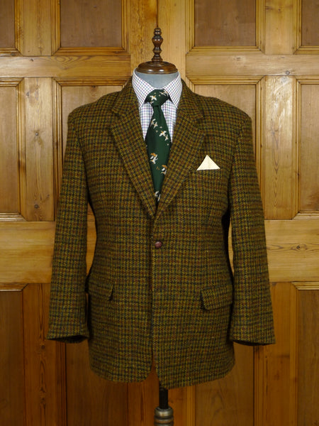 17/1940 immaculate modern harris tweed brown / amber check jacket 45 short to regular