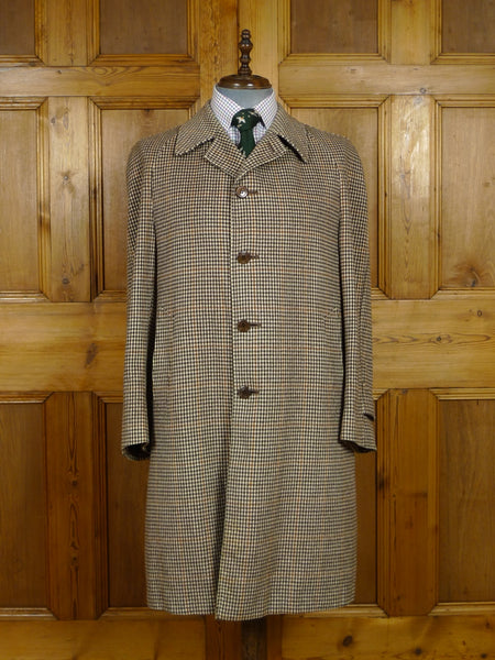 17/1941 vintage cream / brown & amber check raglan loden wool coat overcoat 41-42