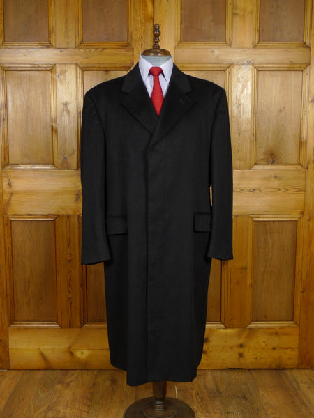 17/1945 (dc) stunning immaculate aquascutum 100% cashmere black fly-front overcoat coat 46 regular