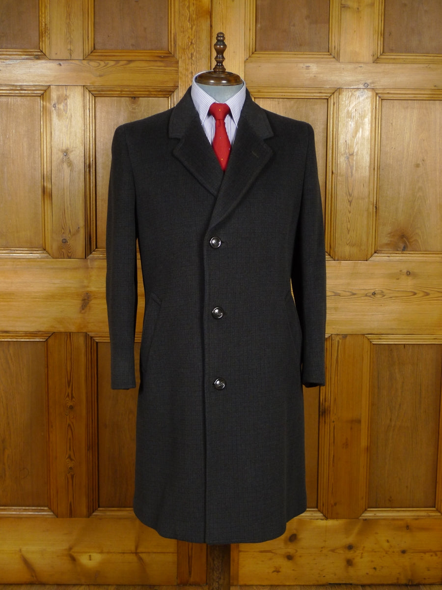 17/1948 near immaculate vintage british heavyweight brown check wool overcoat 42