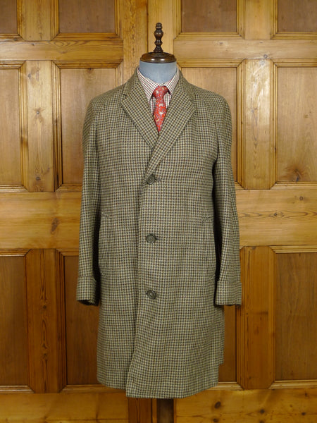17/2000 vintage 1950s 1960s green / brown houndstooth check tweed raglan coat overcoat 38-40