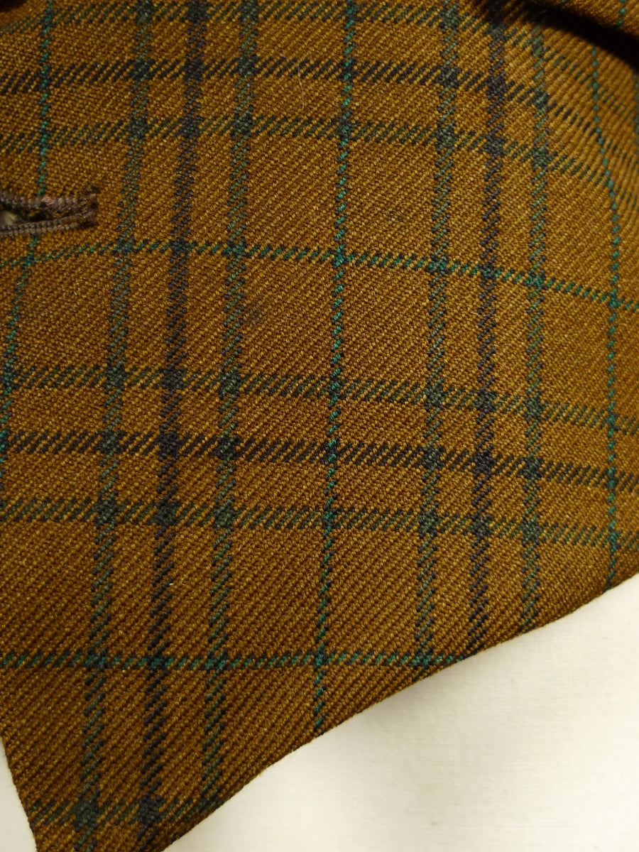 17/2023 vintage brown tattersall check worsted hunting / riding / country waistcoat 39 short