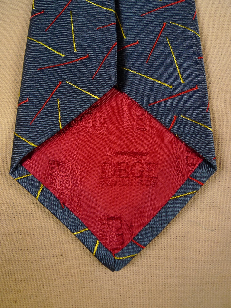 17/2033 (pt) immaculate dege savile row grey / red & gold pattern silk tie