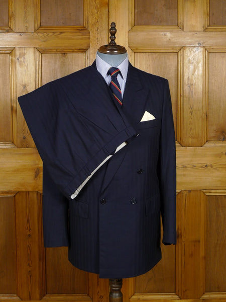 17/2034 (pt) katemann zurich bespoke tailored navy blue herringbone d/b suit 40 long