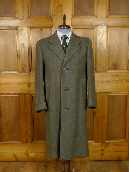 17/2041 vintage heavyweight west riding tweed green herringbone wool overcoat coat 40