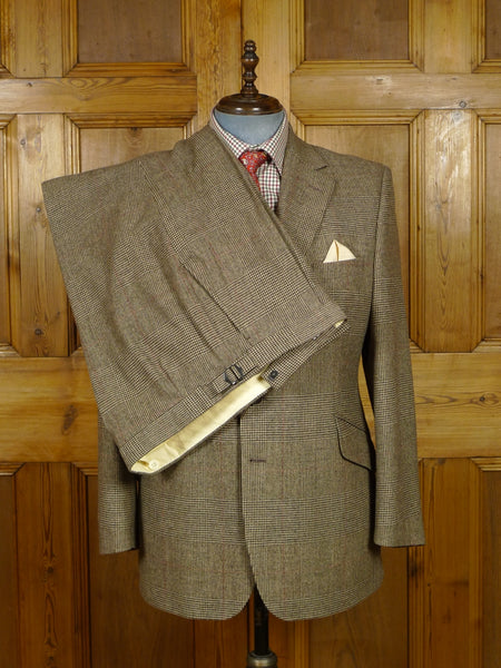 17/2044 (pt) immaculate hackett custom tailored brown / red prince of wales check worsted flannel suit 44 regular