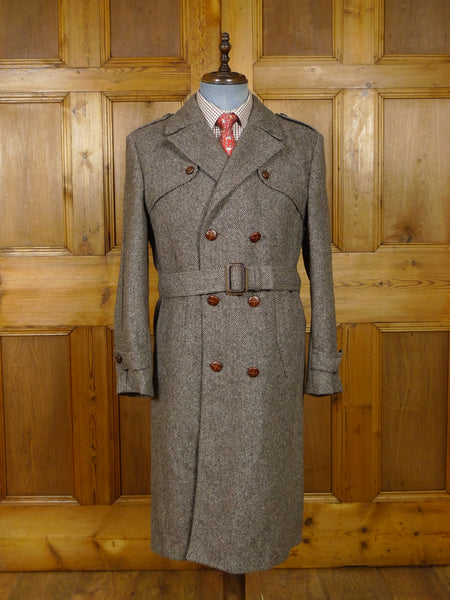 17/2054 immaculate vintage brown tweed trenchcoat overcoat w/ belt 38-40