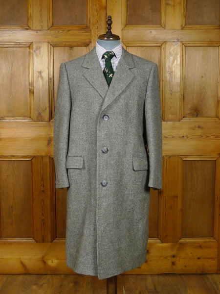17/2058 immaculate heavyweight vintage wool-mix  grey check overcoat coat 44-46