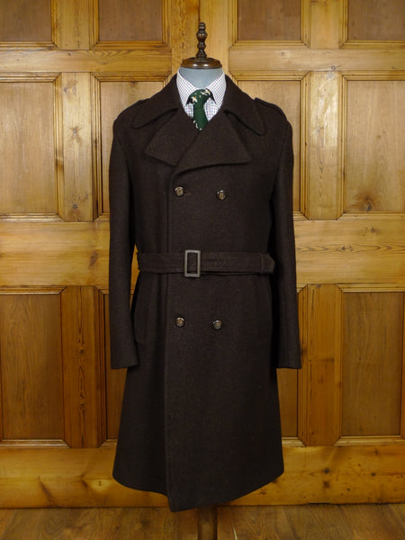 17/2068 (pt) immaculate vintage british brown wool-mix d/b trenchcoat overcoat 40