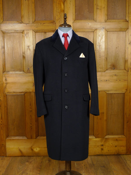 17/2072 (pt) vintage british navy blue wool overcoat w/ velvet collar  44