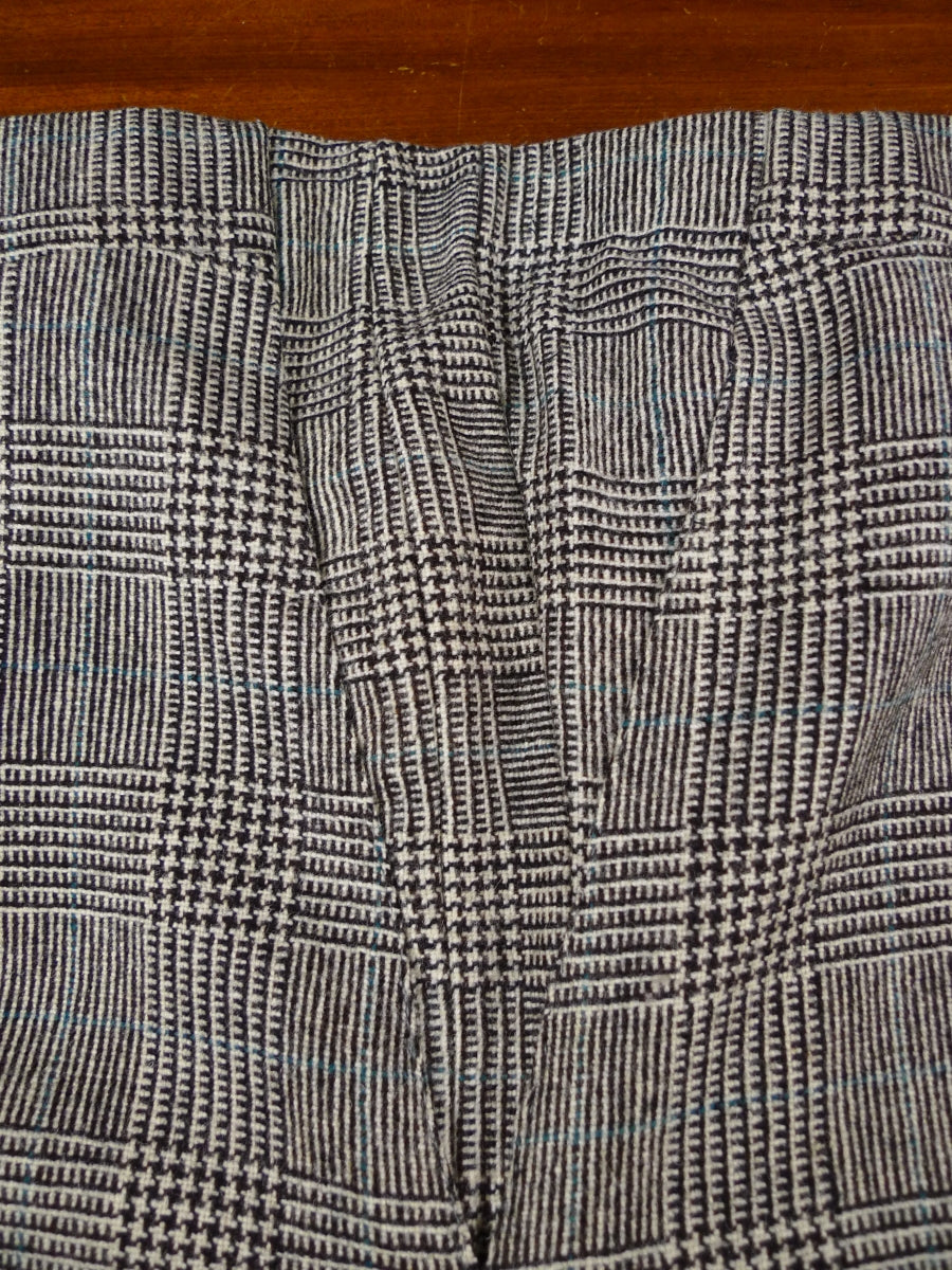 17/2073 (pt) superb vintage manx tweed grey / turquoise prince of wales check worsted flannel suit 40 short