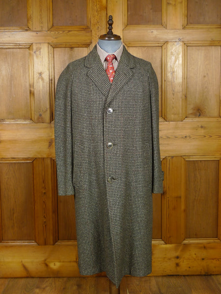 17/2075 (pt) vintage 1950s 1960s daks simpson green / red overcheck wool twist tweed raglan coat overcoat 44