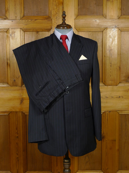 17/2077 (pt) immaculate modern chester barrie reda super 120s luxury wool black pin-stripe suit 42-43 long