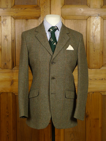 17/2081 (pt) immaculate cordings of piccadilly green / amber windowpane check tweed jacket 36 regular