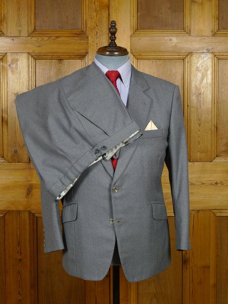 17/2093 (pt) vintage bespoke tailored canvassed grey worsted suit 41 short