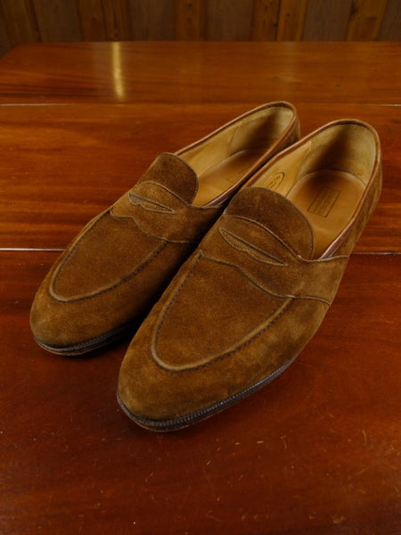 17/2136 (dc) edward green custom made tan brown suede loafer shoe uk 12 narrow fitting