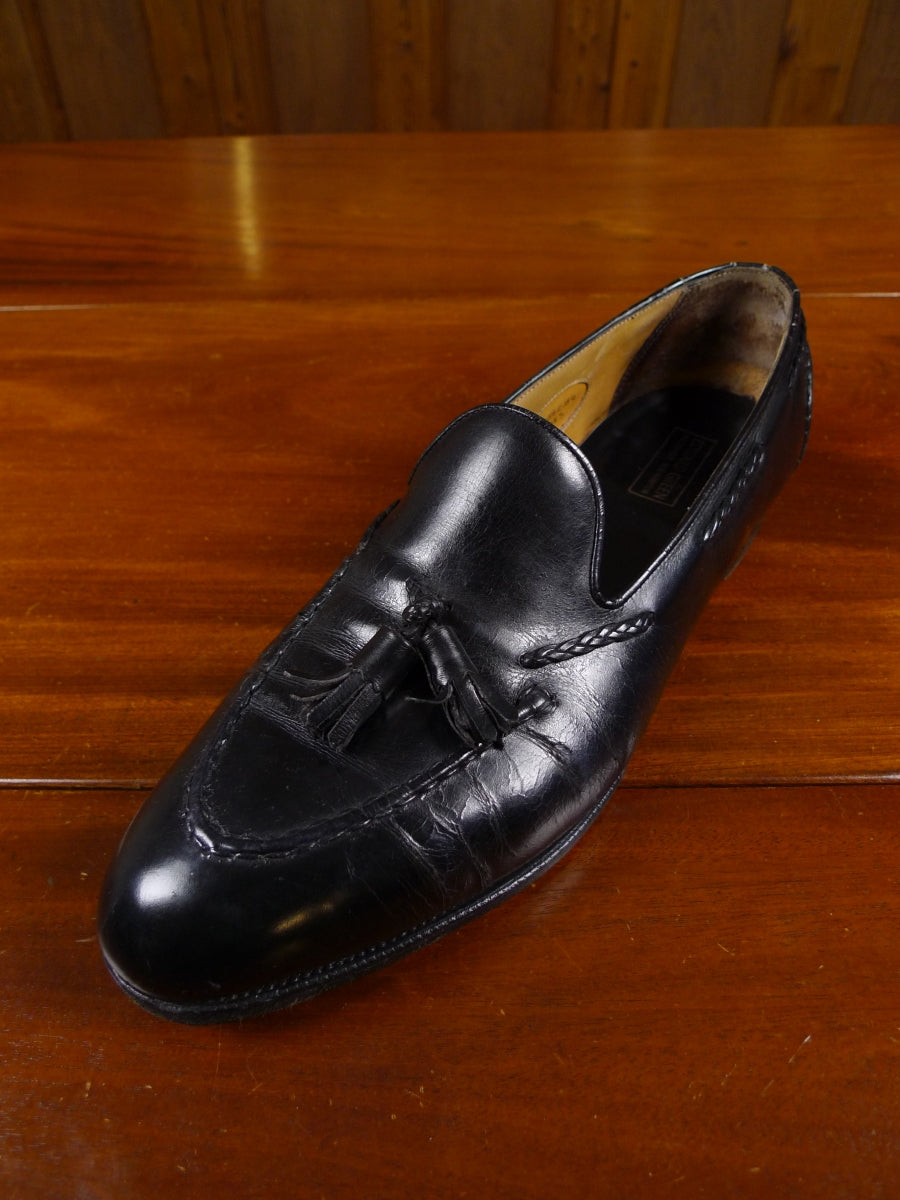 17/2141 (dc) edward green black calf leather slip-on tassle loafer shoe uk 12 narrow fitting