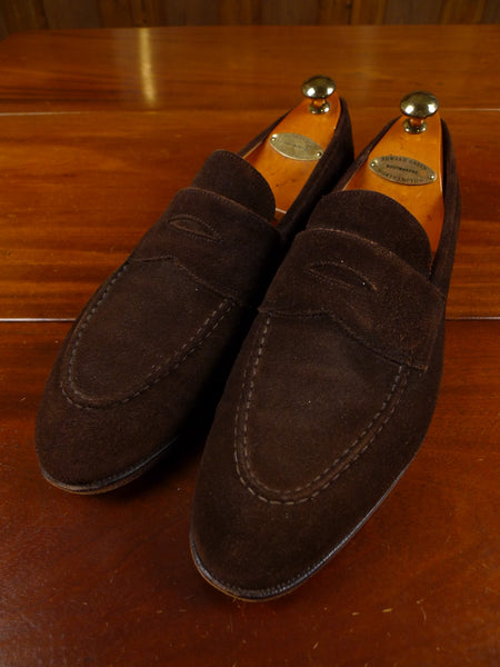 17/2135 (dc) edward green custom made brown suede loafer shoe w/ trees uk 12C (narrow fitting)