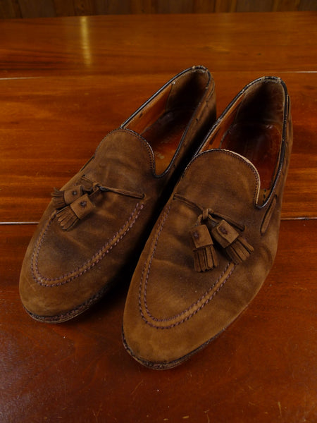 17/2138 (dc) vintage berteil paris custom made brown suede tassle loafer uk 12 narrow fitting