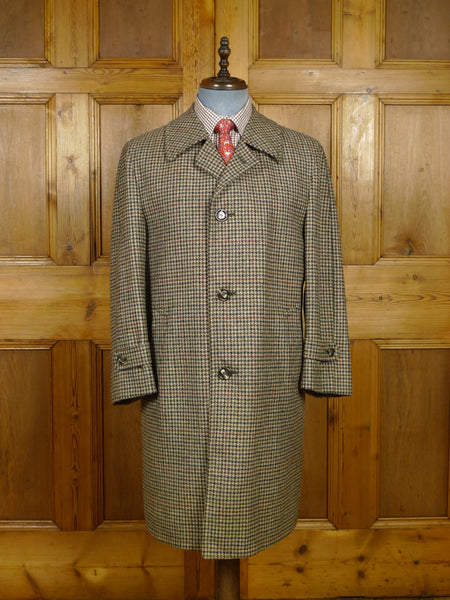 17/2154 excellent vintage crombie wool houndstooth check tweed coat overcoat 41-42 regular