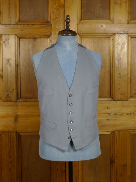 17/2203 (pt) superb vintage bespoke tailored grey doeskin wool backless morning waistcoat 46 regular