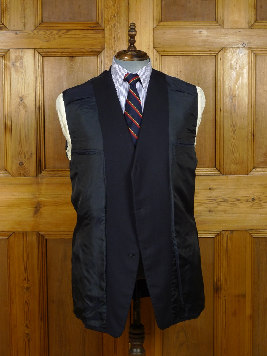 17/2214 vintage henry poole savile row bespoke dark navy blue worsted blazer with brass 'stag' buttons 41 long