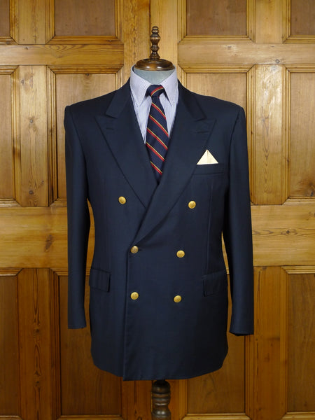 17/2246 (pt) vintage brioni lightweight wool canvassed navy blue d/b blazer w/ gold buttons 44-45 regular